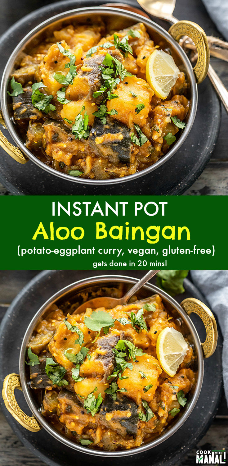 Easy Aloo Baingan (potato & eggplant curry) made in the Instant Pot! This recipe uses frozen onion tomato masala and gets done in 20 minutes for an easy dinner! #vegan #instantpot #indian
