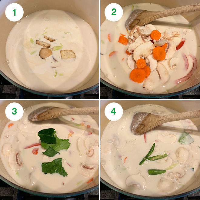 step by step picture collage of making vegan tom kha gai