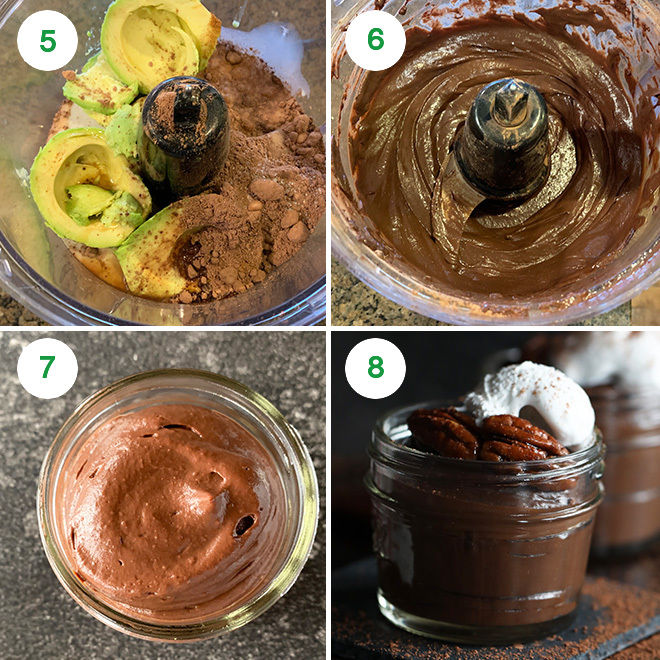 step by step pictures of making chocolate avocado pudding