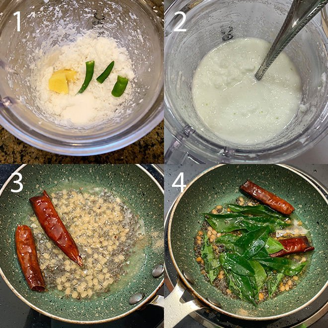 step by step pictures to make coconut chutney