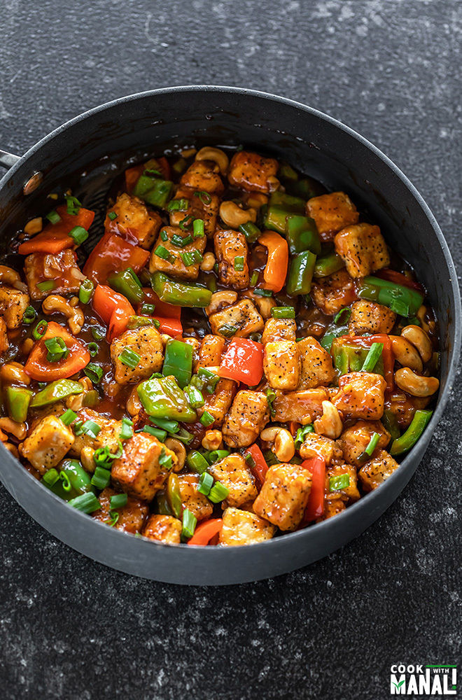 honey cashew tofu in a non-stick pan