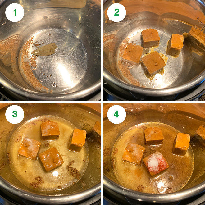 step by step pictures of making instant pot black eyed pea curry