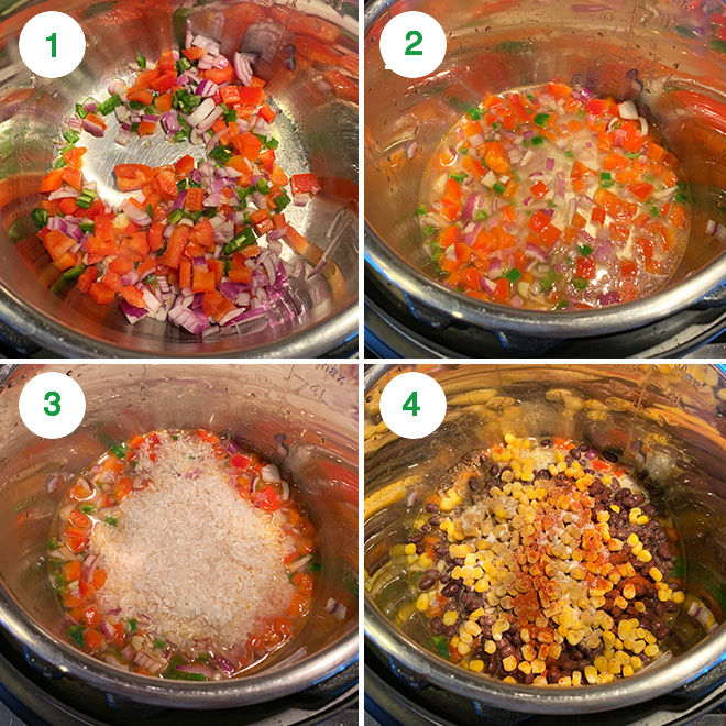 step by step pictures of making instant pot enchilada rice