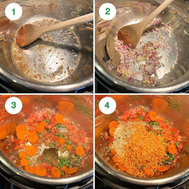 step by step pictures of making quinoa khichdi in instant pot