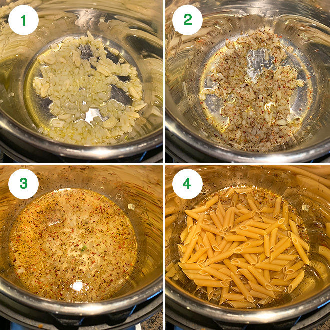 step by step picture collage of making creamy tomato basil pasta in the instant pot