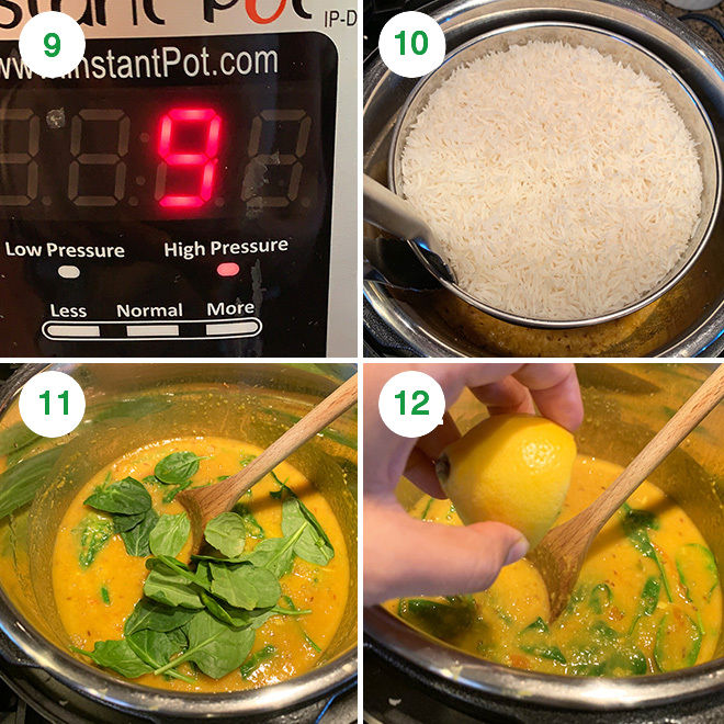 step by step pictures of making rice and dal together in the instant pot