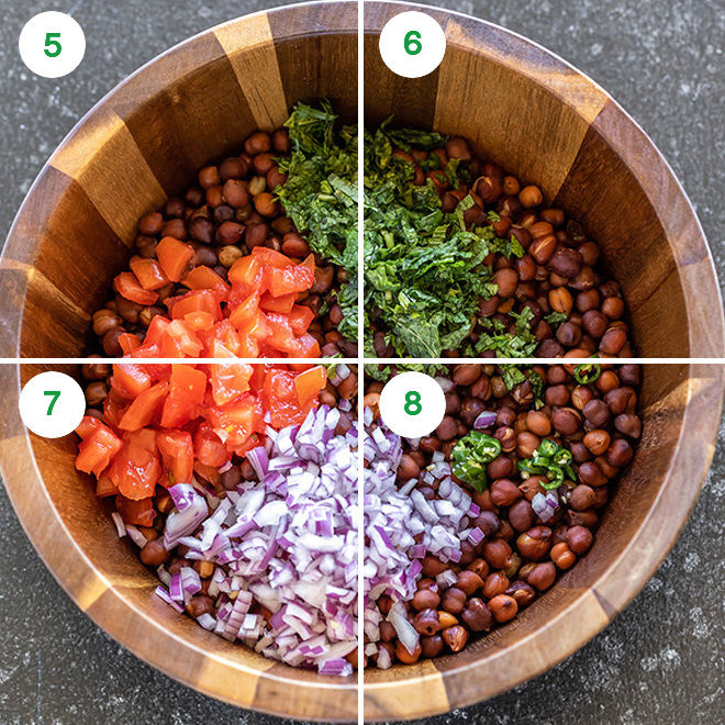 black chickpeas with chopped onion, tomato & cilantro in a wooden bowl