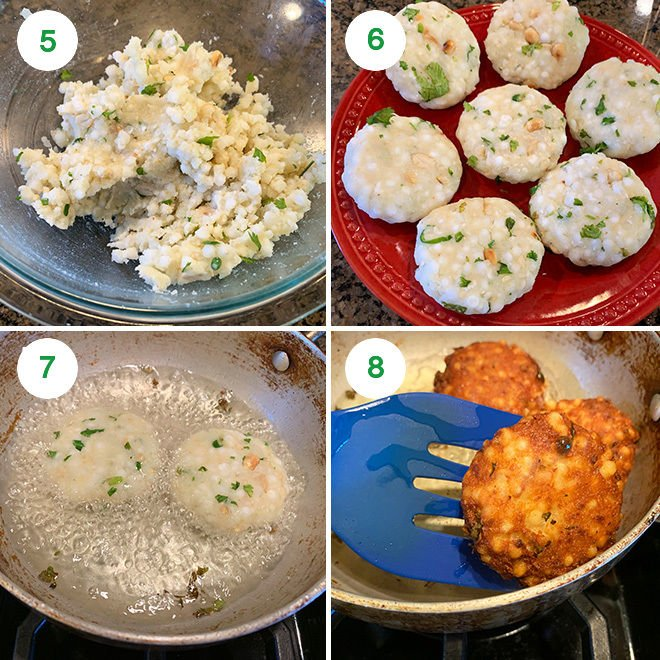 step by step pictures of making sabudana vada