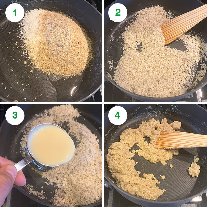 step by step pictures of making thandai coconut ladoo