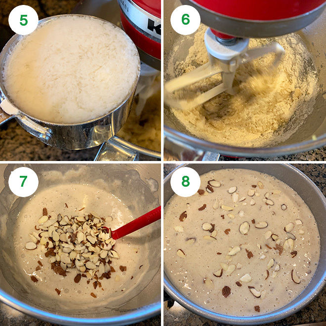 step by step pictures of making vegan almond cardamom cake
