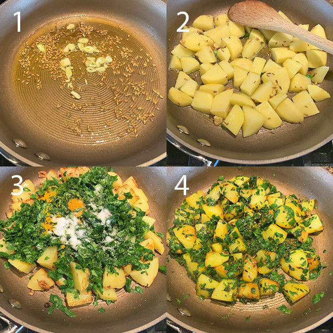 step by step pictures of making aloo methi