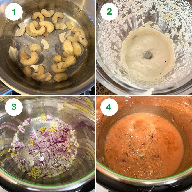 step by step collage of making aloo mushroom masala in instant pot