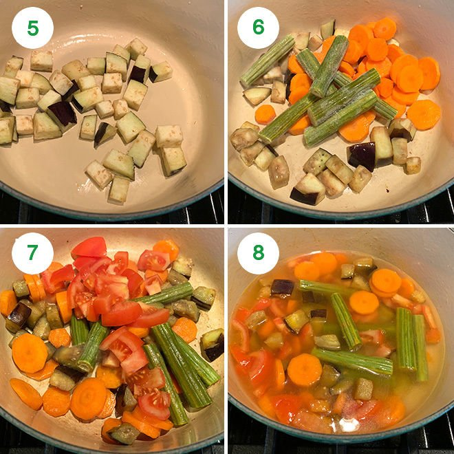 step by step collage to make sambar at home