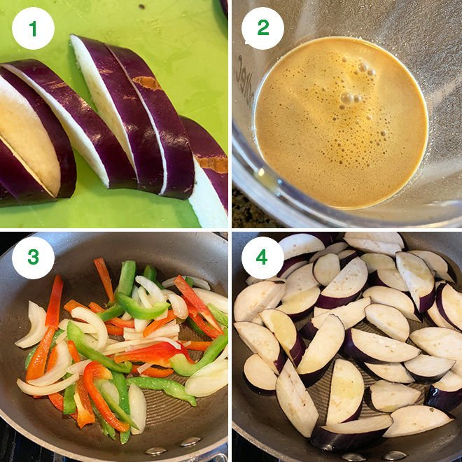 step by step picture collage of thai basil eggplant