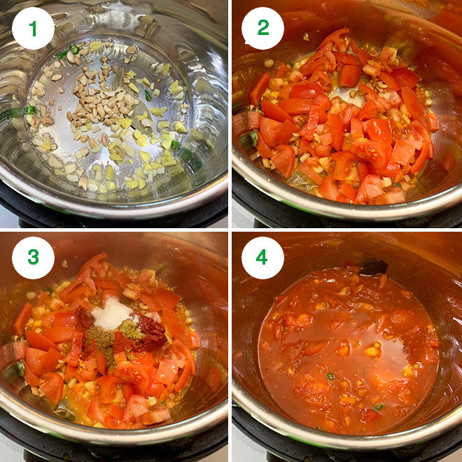 step by step pictures collage of making vegan makhani sauce in the instant pot