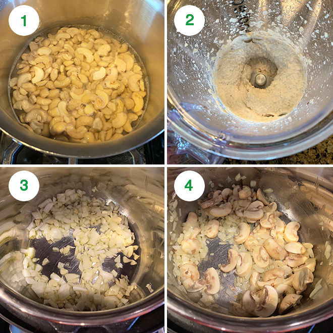 picture collage of making vegan mushroom white lasagna soup