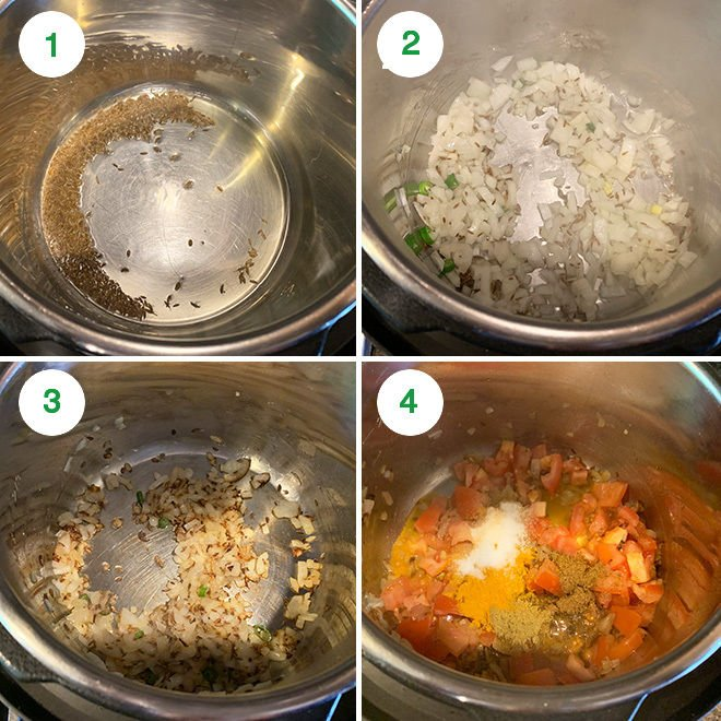 picture collage of whole masoor dal being cooked in the instant pot