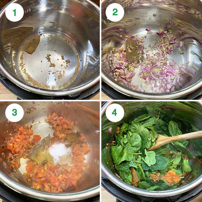 step by step recipe collage of making mixed vegetable spinach curry in instant pot