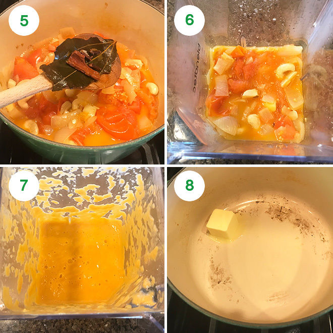 step by step picture collage of making paneer butter masala at home