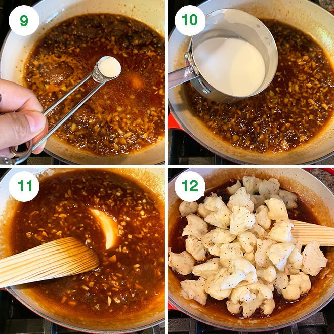 step by step picture collage of making sesame cauliflower