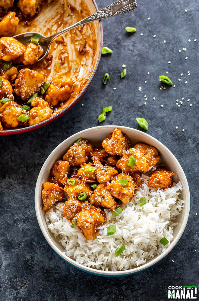 sesame cauliflower bowl with rice