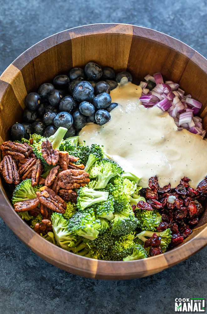 salad bowl with broccoli, blueberries, cranberries, onion, pecans and a cashew dressing