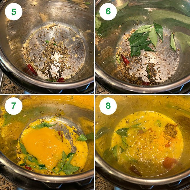 step by step pictures of making mango curry in the Instant Pot