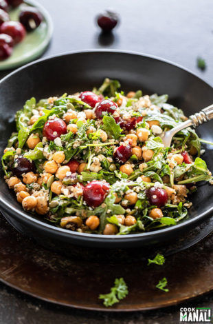 bowl of salad with cherry, quinoa, arugula, chickpea served with a spoon