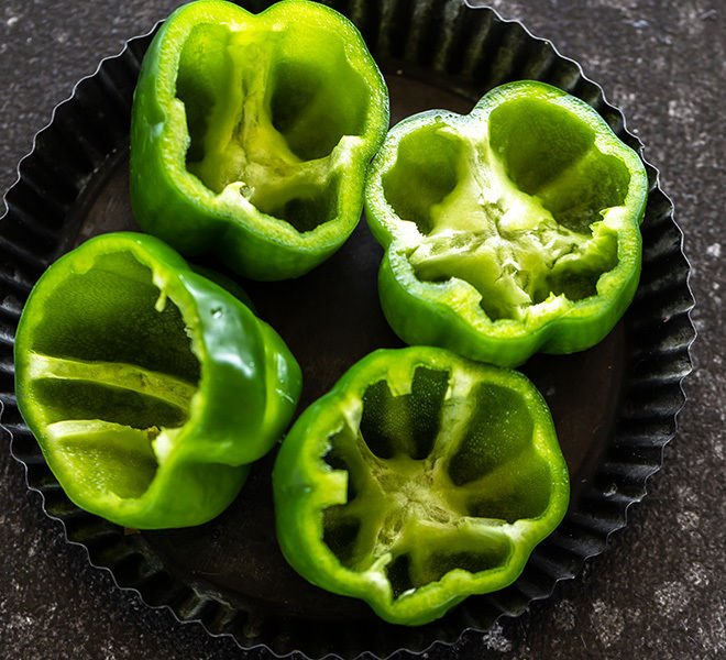 4 small green bell peppers cut from top and seeds removed to make them follow from inside