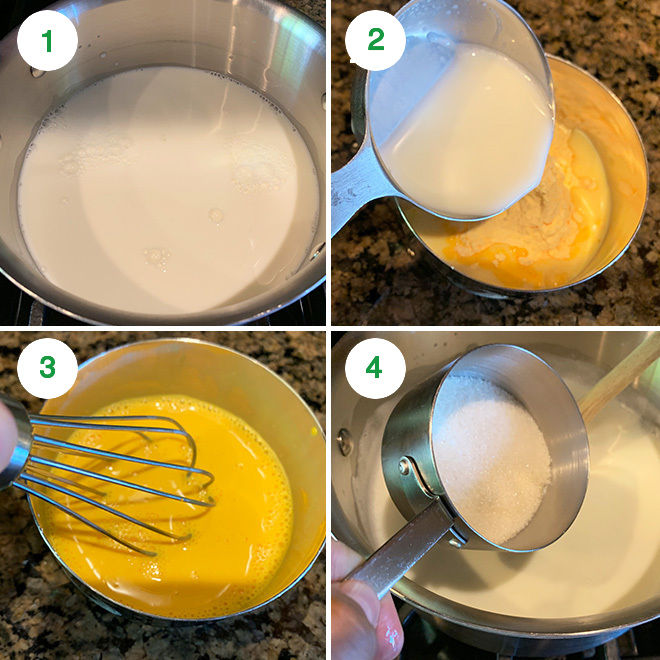 step by step picture collage of making fruit custard