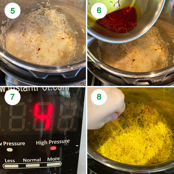 picture collage of making saffron rice in instant pot