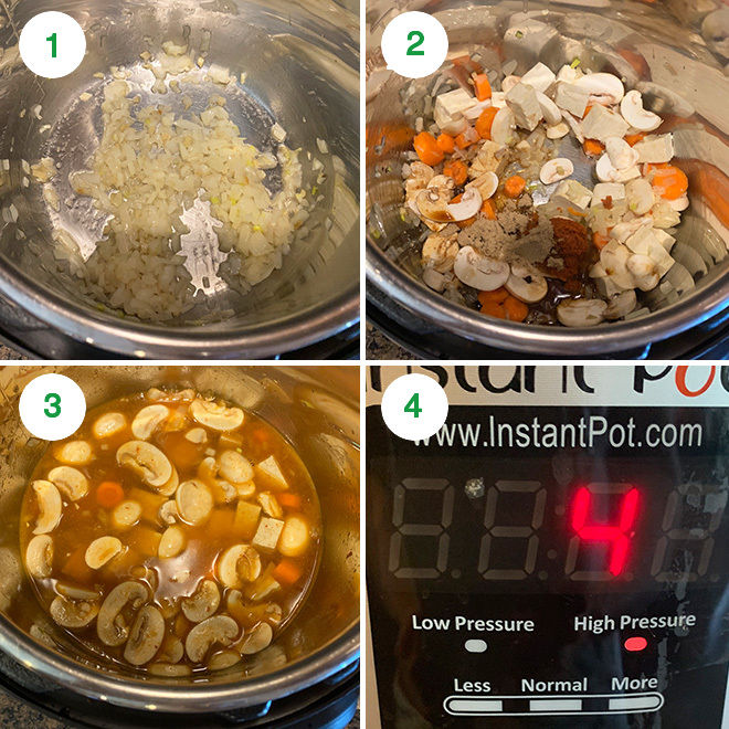 step by step picture collage of making instant pot vegan thai curry soup