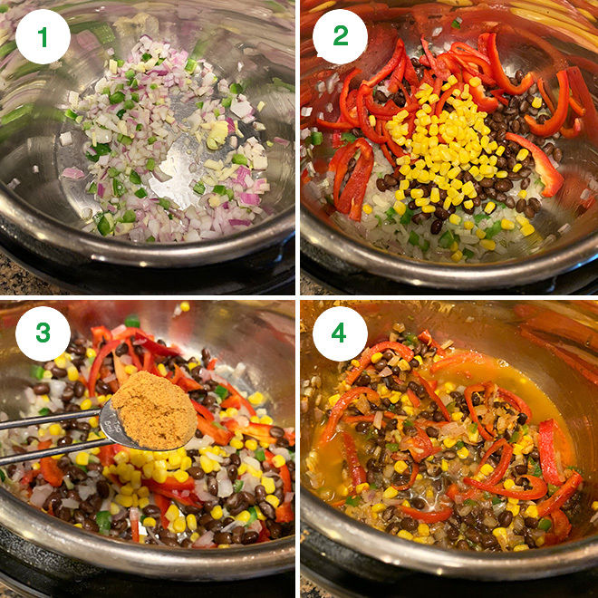 step by step collage of making southwestern pasta in instant pot