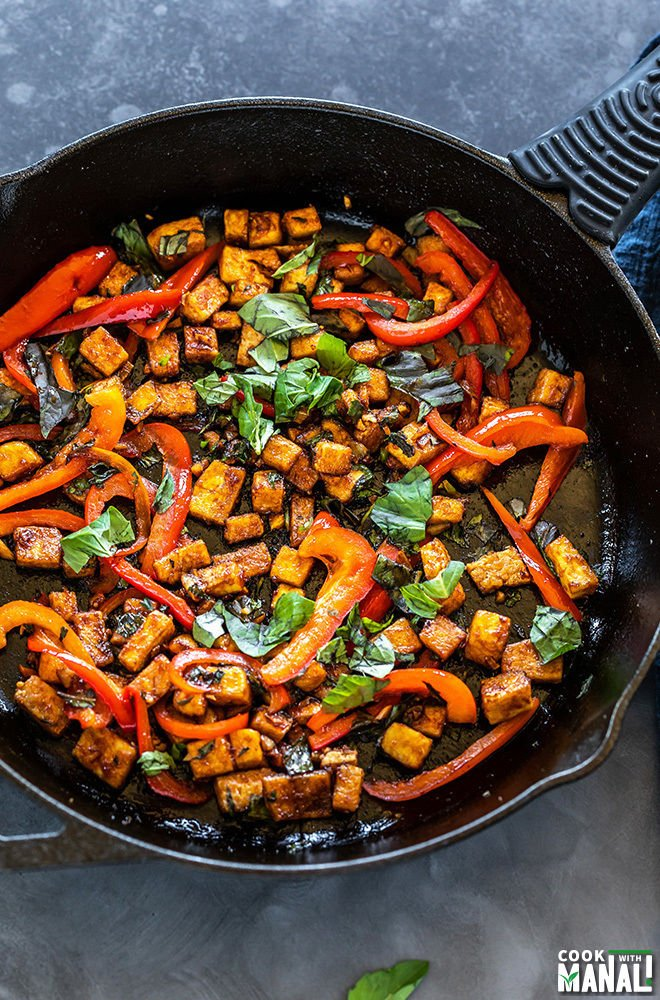 tofu stir fry in cast iron skillet