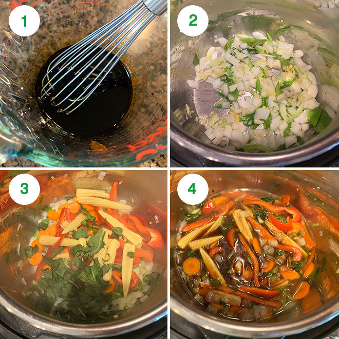 step by step collage of making vegan drunken noodles in instant pot