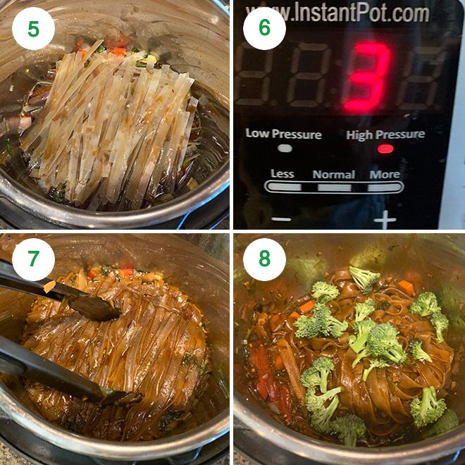 step by step collage of making vegan drunken noodles in instant pot