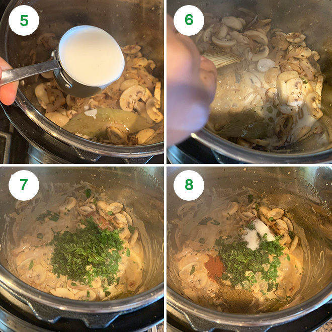 step by step picture of making mushroom biryani in instant pot