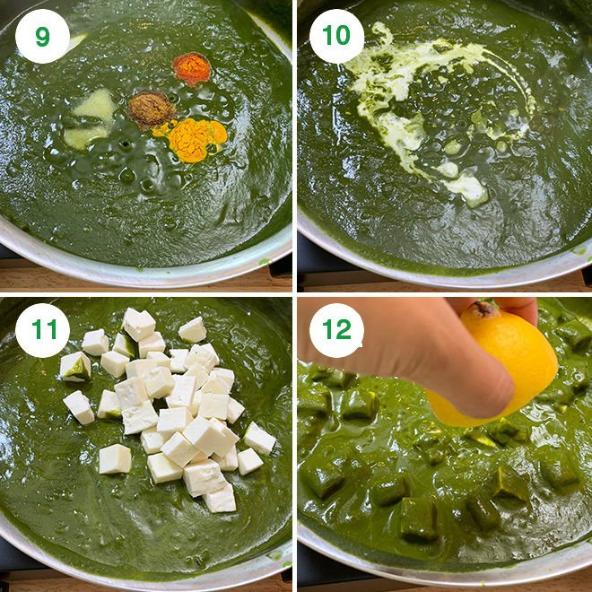 step by step picture collage of making palak paneer at home