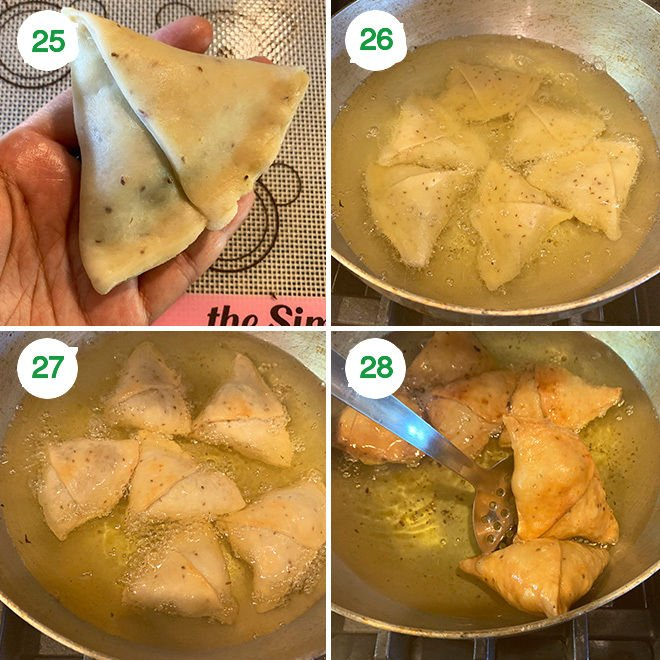 step by step picture collage of making samosa at home