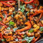 cast iron pan with basil tofu stir fry