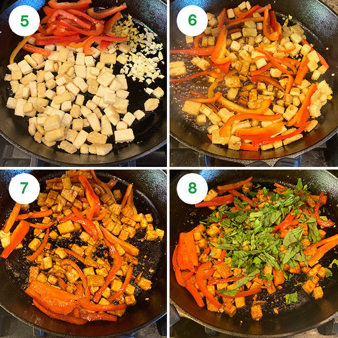 step by step picture collage of making thai basil tofu stir-fry