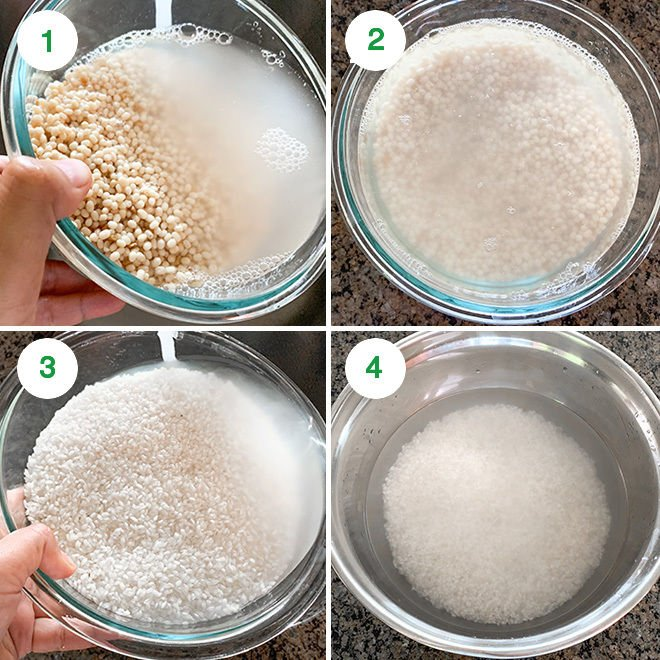 step by step picture collage of making idli dosa batter