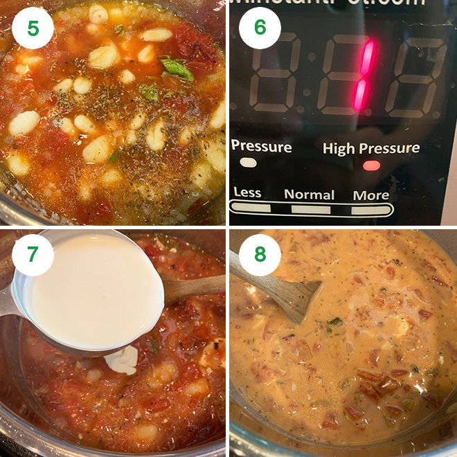 step by step picture collage of making tomato gnocchi soup in the instant pot