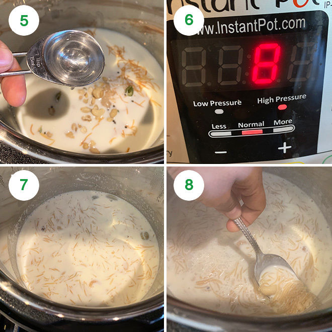 step by step process of making seviyan kheer in instant pot