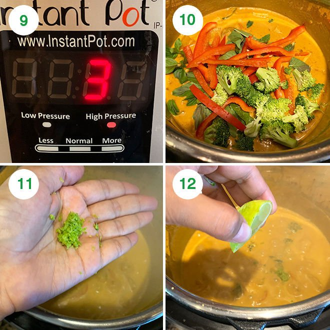 step by step picture collage of making vegan panang curry in the instant pot