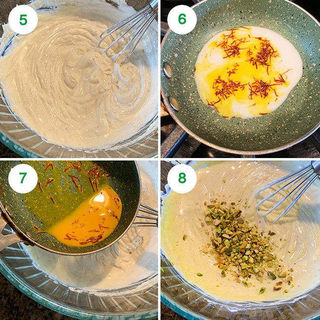 step by step picture collage of making kesar pista Shrikhand