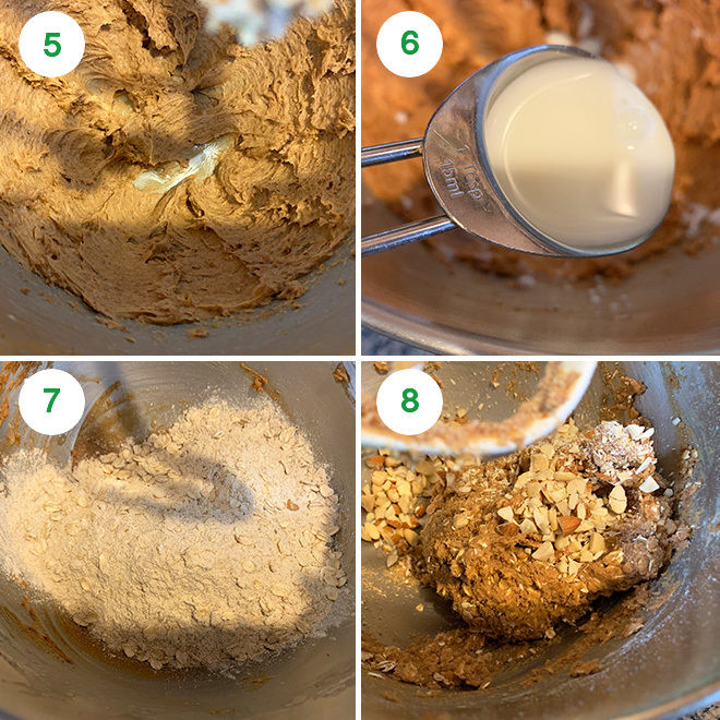 step by step pictures of making oats jaggery cookies
