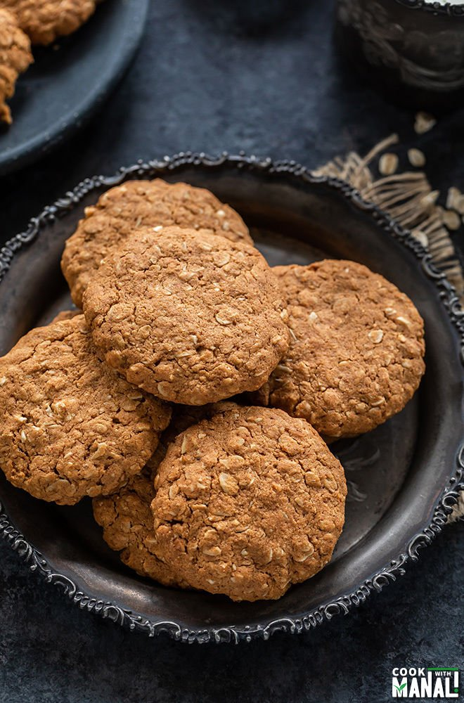 oats jaggery cookies placed on a rustic plate