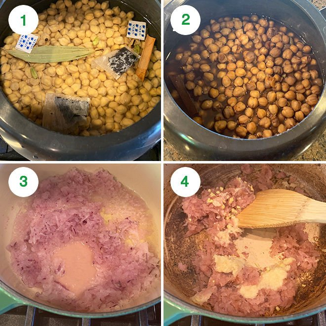 step by step picture collage of making samosa chaat