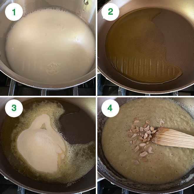 step by step picture collage of making sooji halwa